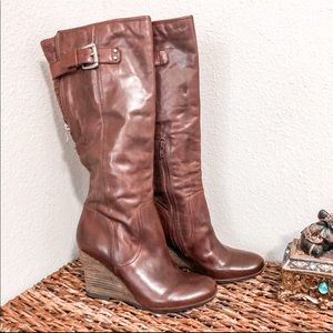 Naya Anthropologie Stacked Wedge Boots Brown